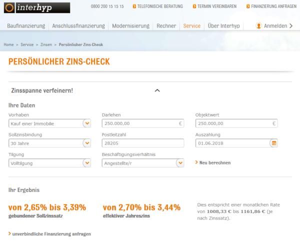 Interhyp Zins Check 250.000 EUR Kredit ohne Eigenkapital Bild Angebot in Bremen
